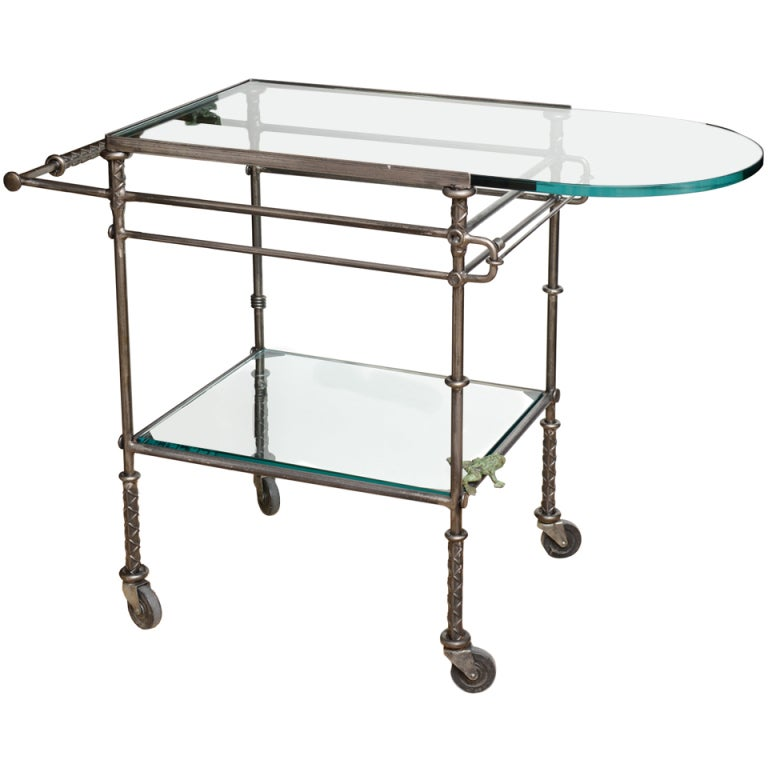 Rebar Steel Glass And Bronze Bar Cart By Ilana Goor