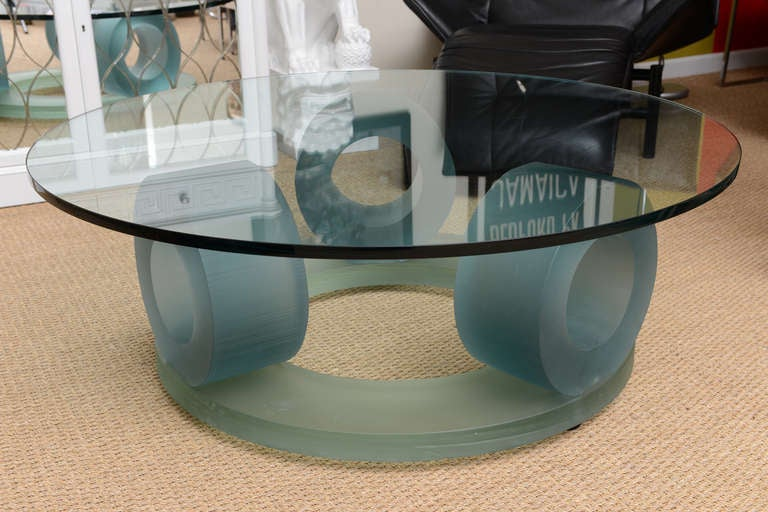 Superb Signed Italian Murano Glass Round Cocktail Table At