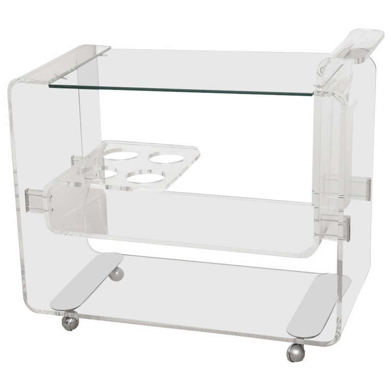 Lion in Frost 3 Tiered Rolled Lucite/Glass  Bar Cart /SATURDAY SALE