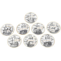 "Set of Eight Fornasetti Regal Gilded Porcelain ""SHIP"" Velieri Coasters"