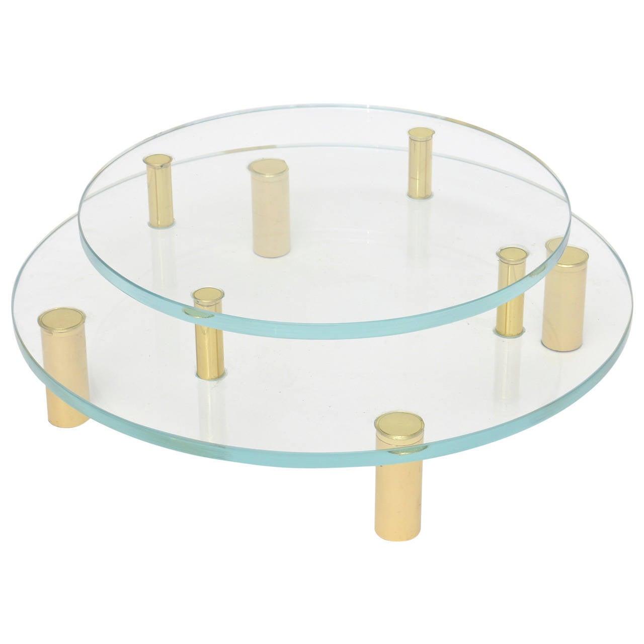 Modernist Two-Tiered Circular Brass and Glass Sculptural Centerpiece / SALE