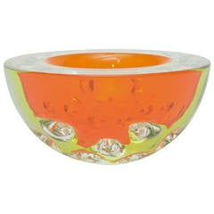 Rare Italian Murano Sommerso Dimpled Geode Glass Bowl
