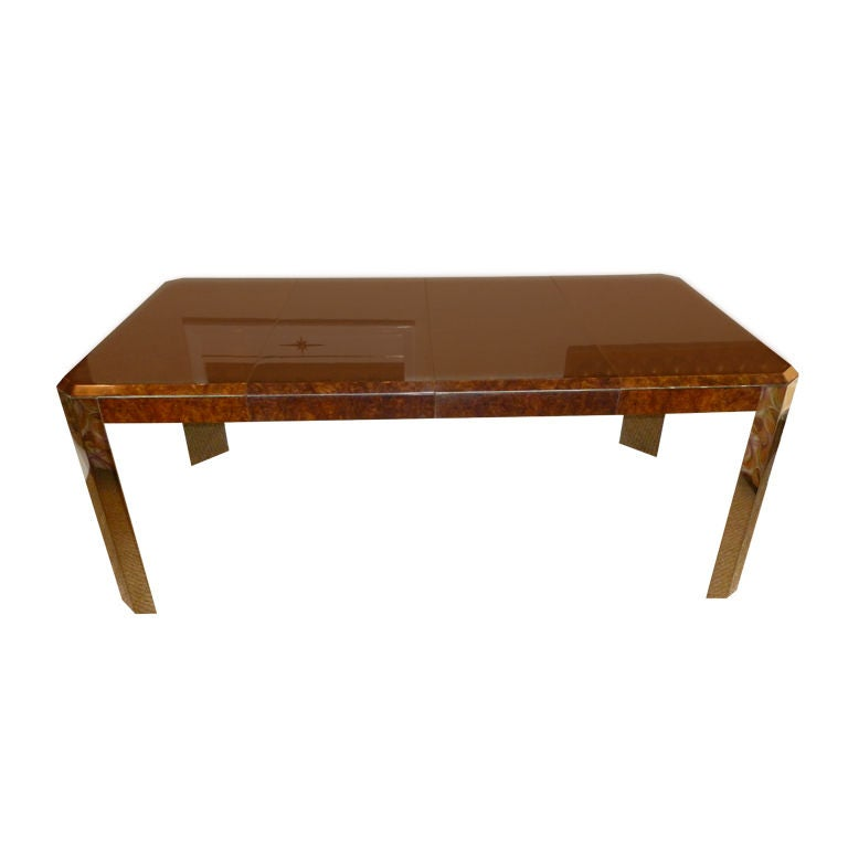 Beautiful burled wood steel leon rosen for pace dining for Leon s dining room tables