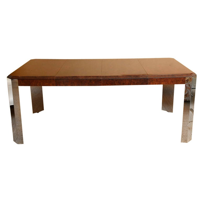 Beautiful pace burled wood and steel game and dining table for Dining room game table