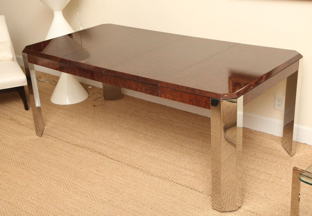 Modern Leon Rosen for Pace Burled Wood and Stainless Steel Dining Table and Game Table For Sale