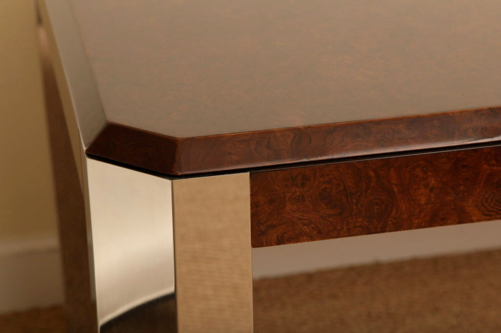 Leon Rosen for Pace Burled Wood and Stainless Steel Dining Table and Game Table In Good Condition For Sale In North Miami, FL