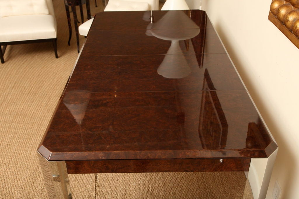 Late 20th Century Leon Rosen for Pace Burled Wood and Stainless Steel Dining Table and Game Table For Sale