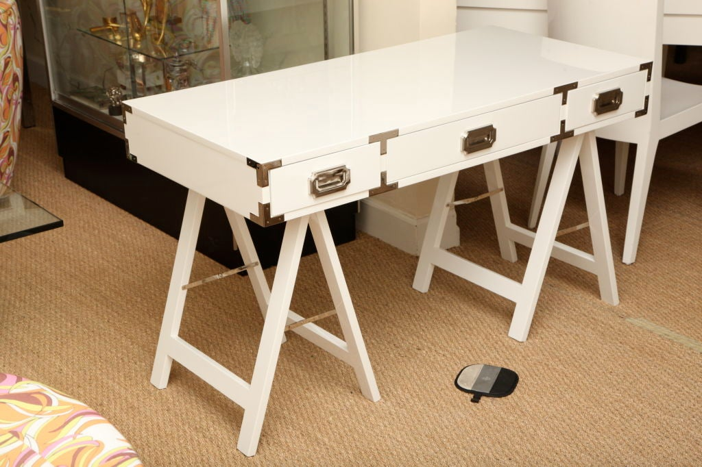 Great White Lacquered Campaign Desk With Nickel Silver At