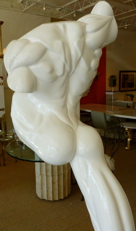 Life-Size Male Torso Resin and Iron Outdoor / Indoor Sculpture In Fair Condition For Sale In North Miami, FL
