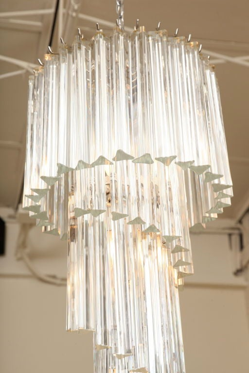 Italian Murano Spiral Crystal Glass Prism Chandelier by Venini In Excellent Condition For Sale In North Miami, FL