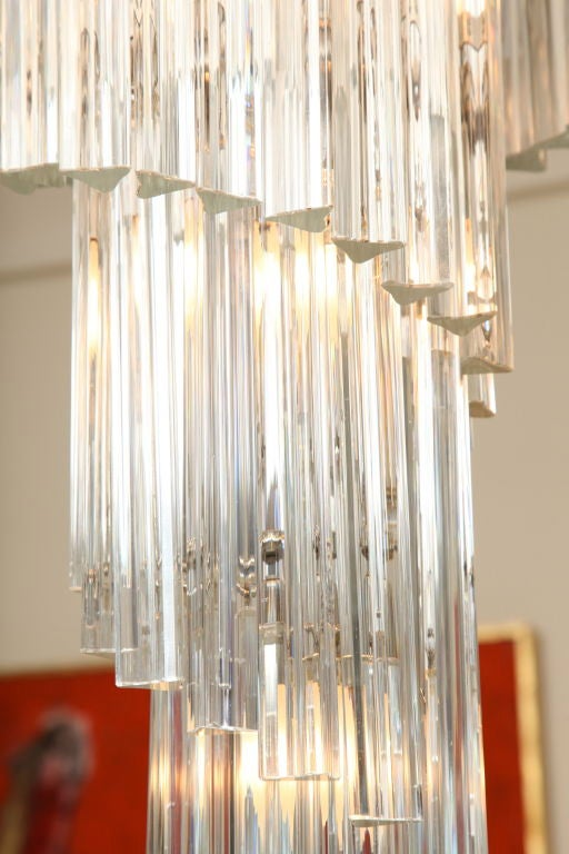 20th Century Italian Murano Spiral Crystal Glass Prism Chandelier by Venini For Sale