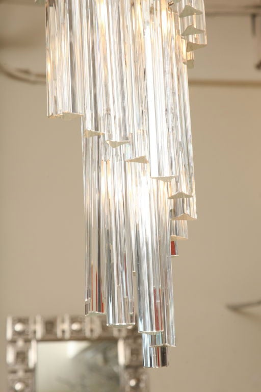 Italian Murano Spiral Crystal Glass Prism Chandelier by Venini For Sale 1