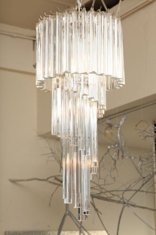 Italian Murano Spiral Crystal Glass Prism Chandelier by Venini For Sale 2