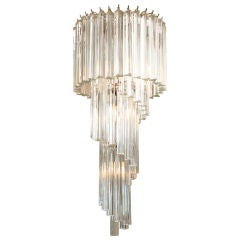 Italian Murano Spiral Crystal Glass Prism Chandelier by Venini / SALE