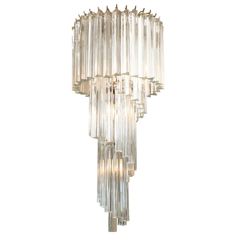 Italian Murano Spiral Crystal Glass Prism Chandelier By