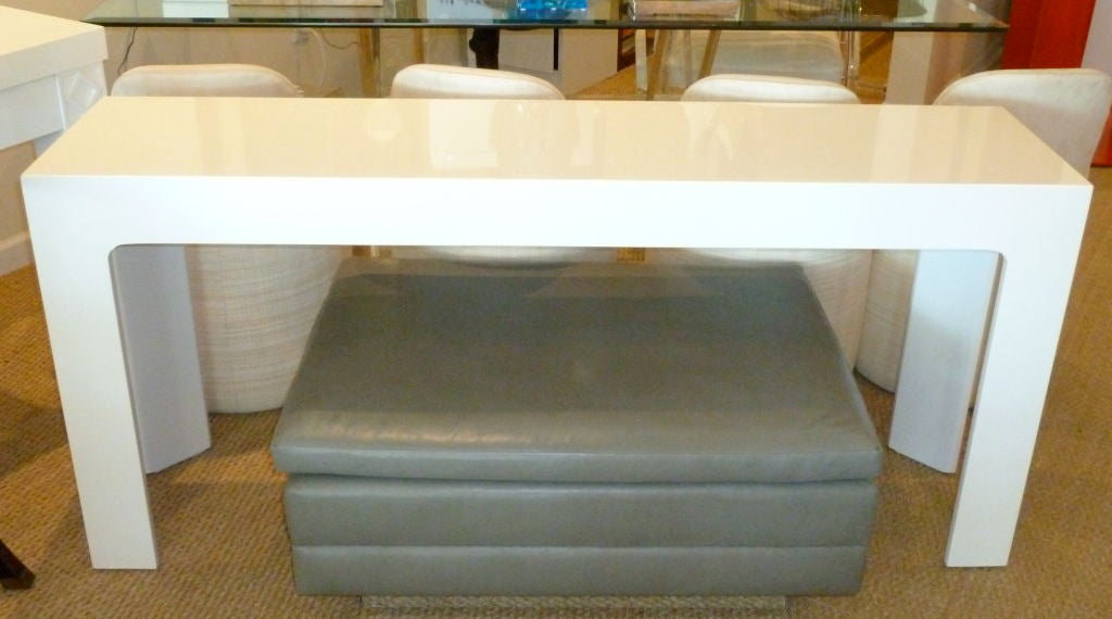 White lacquered narrow console or sofa table at 1stdibs for Narrow console table behind couch