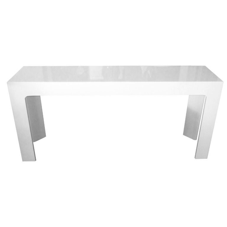 White Lacquered Narrow Console Or Sofa Table At 1stdibs