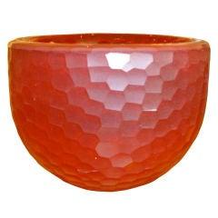 Italian Murano Battutto Red Glass Bowl