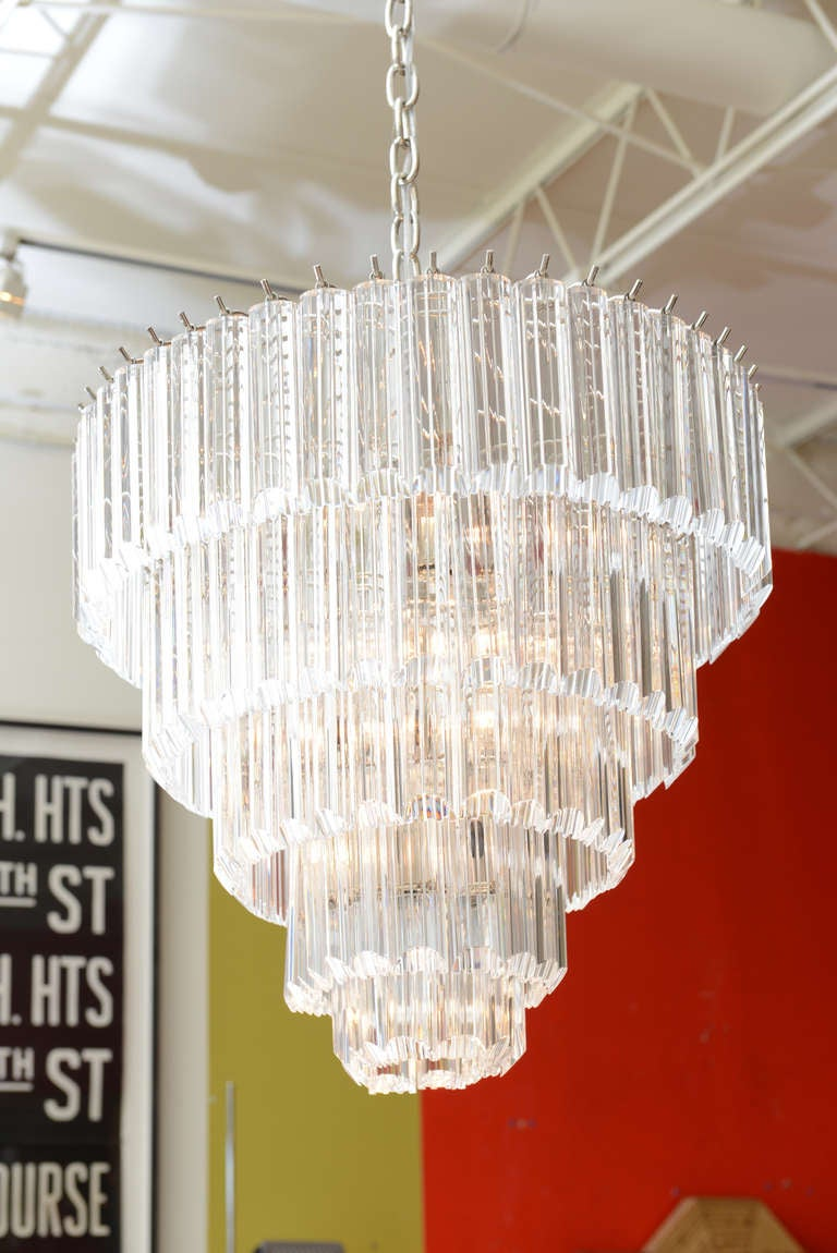 5 Tiered Lucite and Nickel Silver Chandelier at 1stdibs