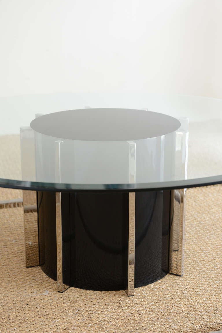 round architectural black silver and glass drum cocktail table at 1stdibs. Black Bedroom Furniture Sets. Home Design Ideas