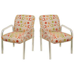 Pair of Leon Rosen for Pace  Lucite and Upholstered Side/Desk Chairs