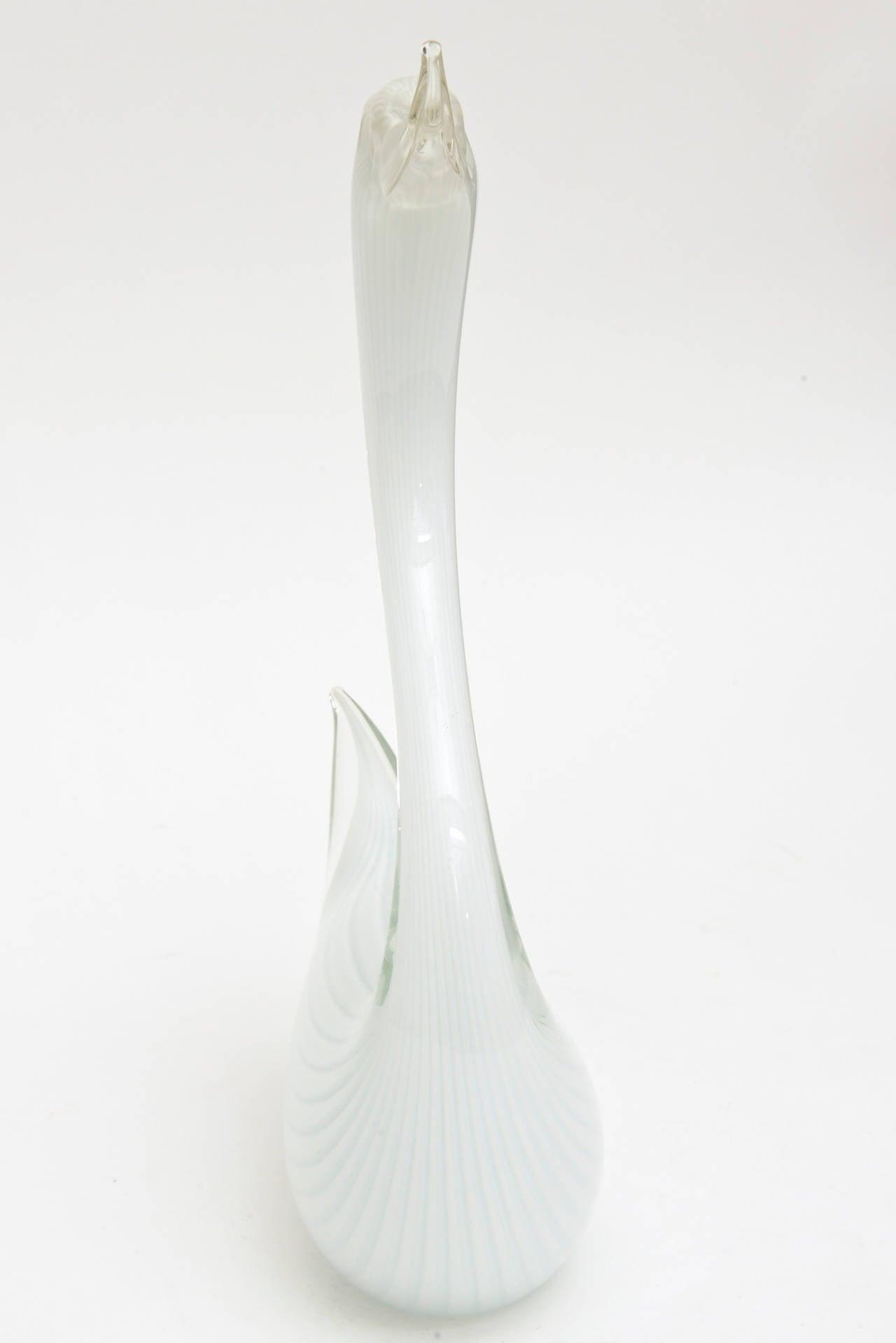 Murano Seguso White Swan Glass Sculpture For Sale 2