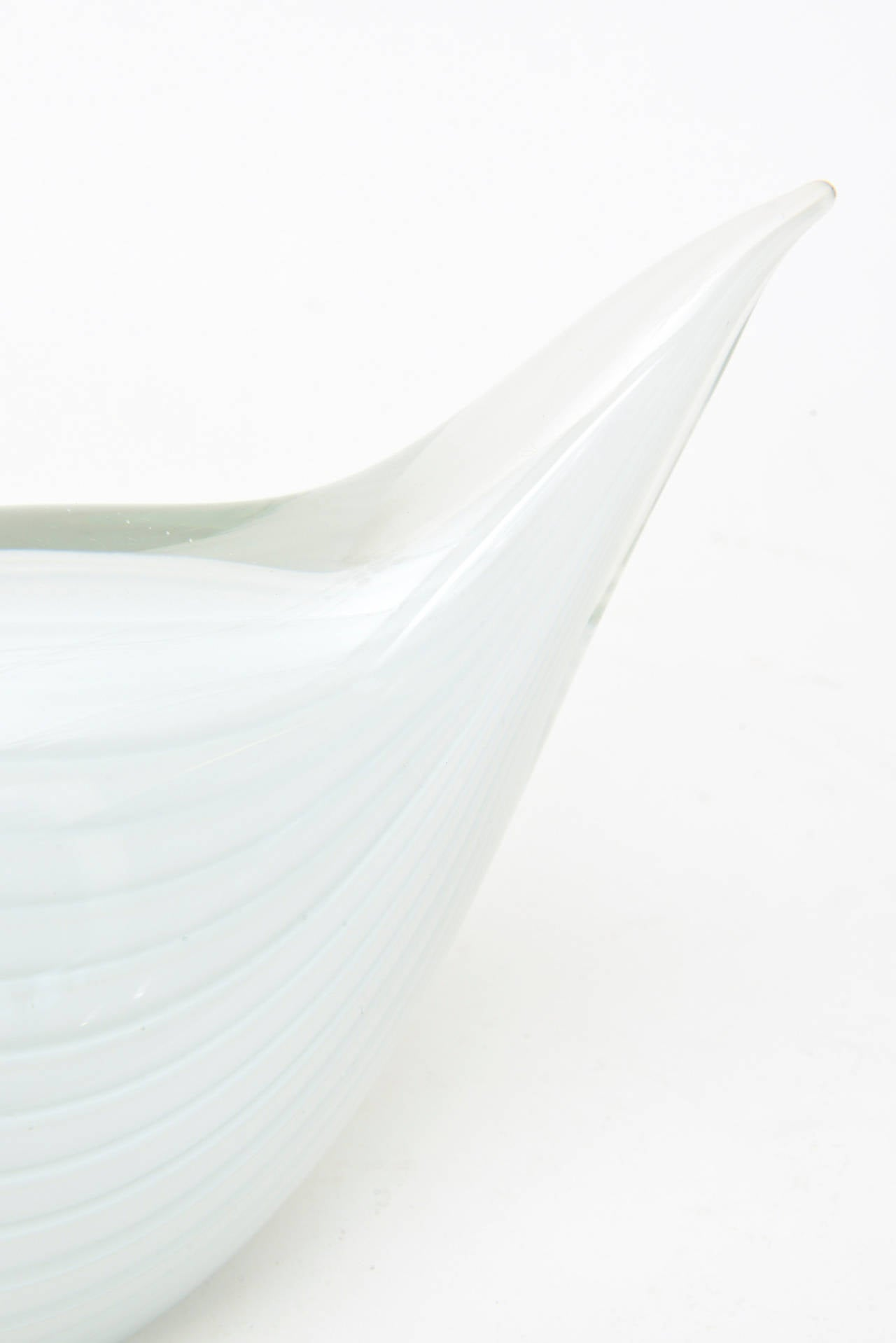 Murano Seguso White Swan Glass Sculpture For Sale 1