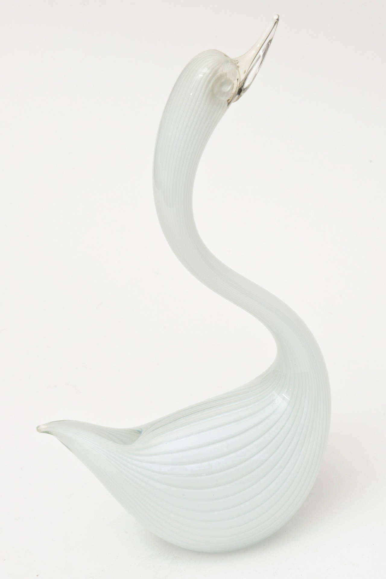 Murano Seguso White Swan Glass Sculpture For Sale 3