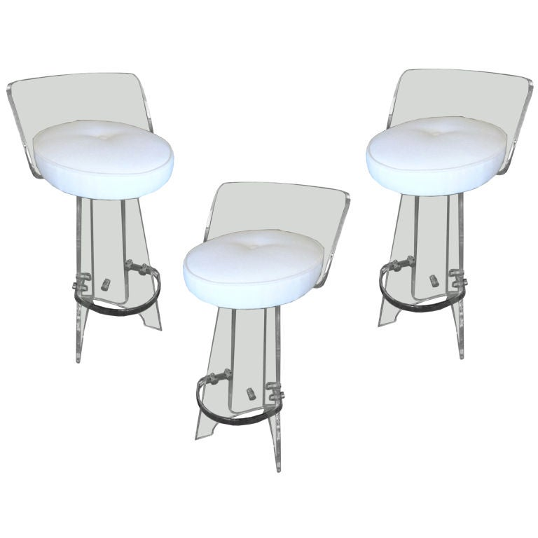 Set Of Three Lucite And Nickel Silver Swivel Bar Stools At