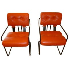 Pair of Italian Leather Tucroma Chairs by Mariani for Pace
