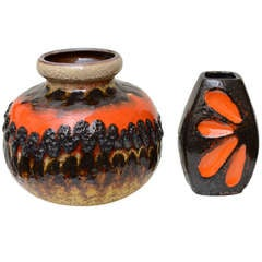 Two Ceramic German Textural Vases, Vessels or Objects