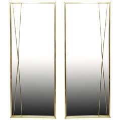Pair of Polished Signed Paul McCobb Modernist Mirrors