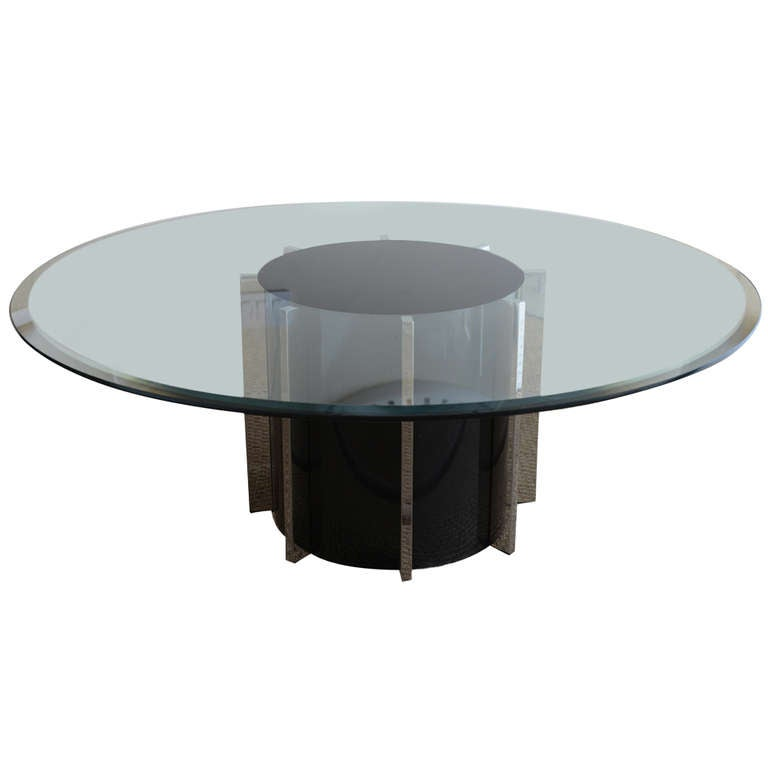 Round architectural black silver and glass drum cocktail for Architectural coffee table