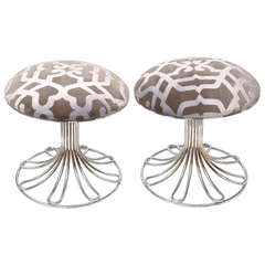 Pair of Italian Vintage Nickel Silver and Upholstered Stools