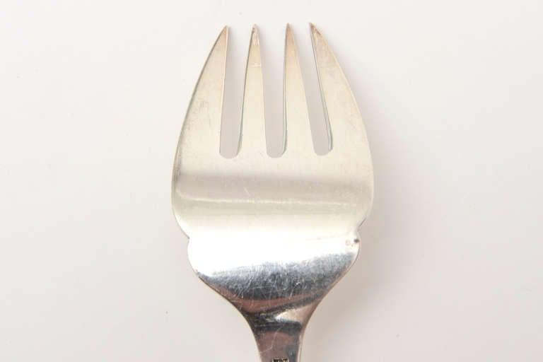 Sterling Silver Hallmarked Mid-Century Modern Danish Frigast Serving Fork For Sale 4