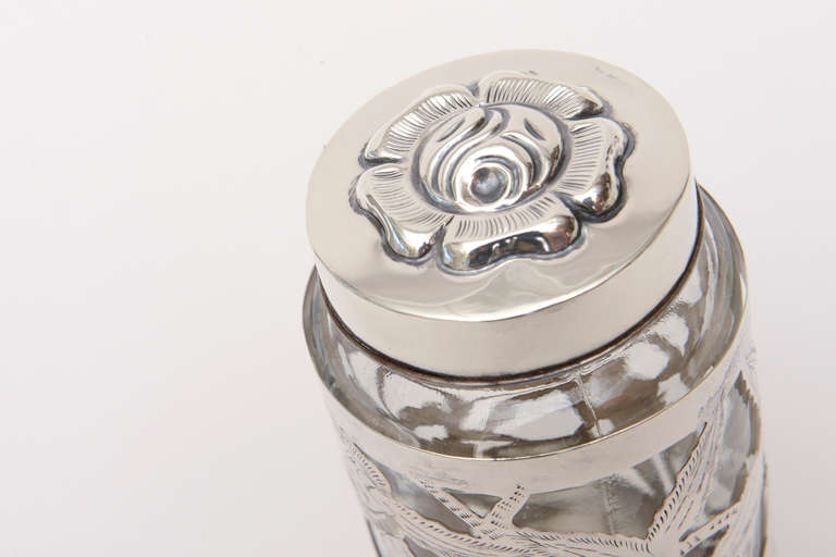 Modern Sterling Silver Overlay Glass Vessel Lidded Vessel Vintage For Sale