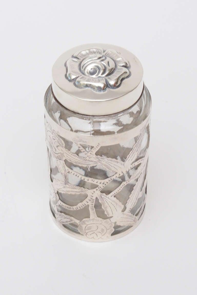 Mexican Sterling Silver Overlay Glass Vessel Lidded Vessel Vintage For Sale
