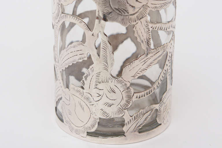 Sterling Silver Overlay Glass Vessel Lidded Vessel Vintage In Good Condition For Sale In North Miami, FL