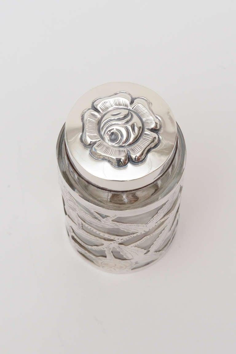 Mid-20th Century Sterling Silver Overlay Glass Vessel Lidded Vessel Vintage For Sale