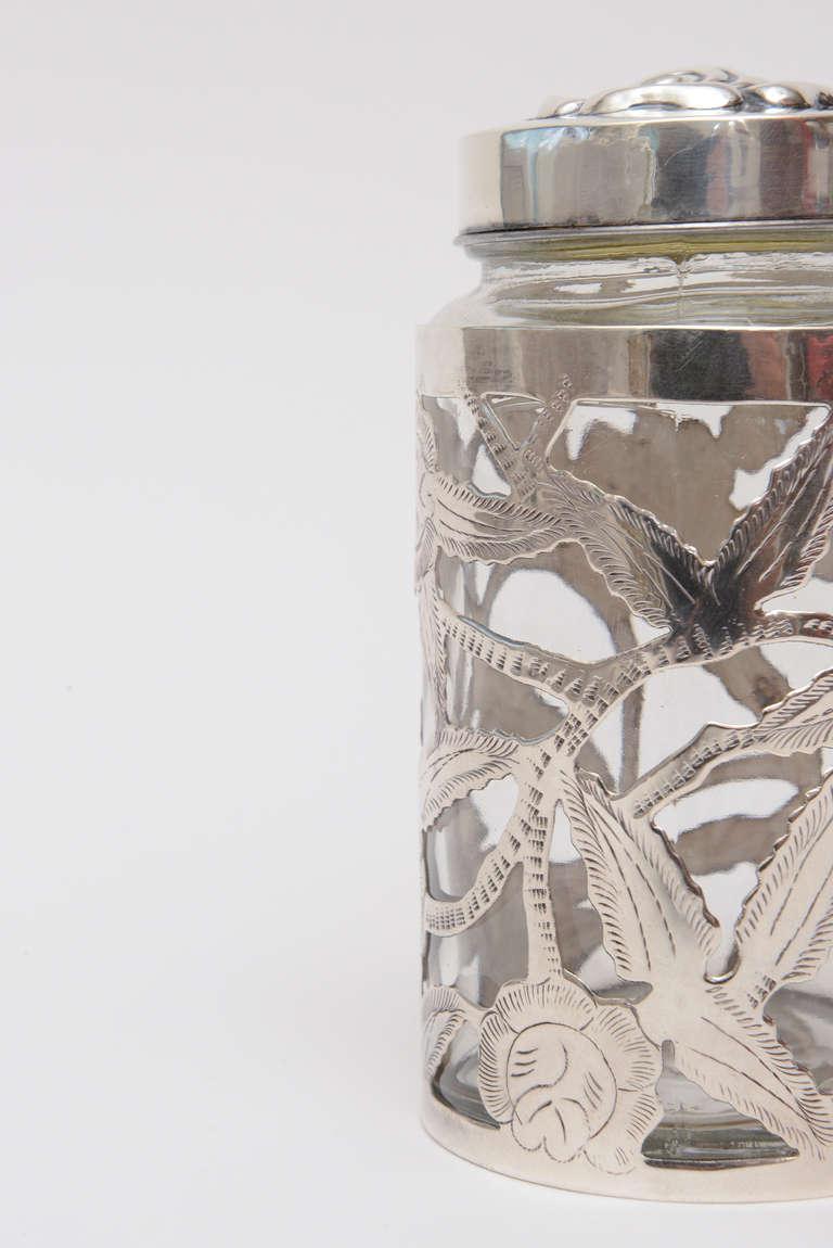 Sterling Silver Overlay Glass Vessel Lidded Vessel Vintage For Sale 3