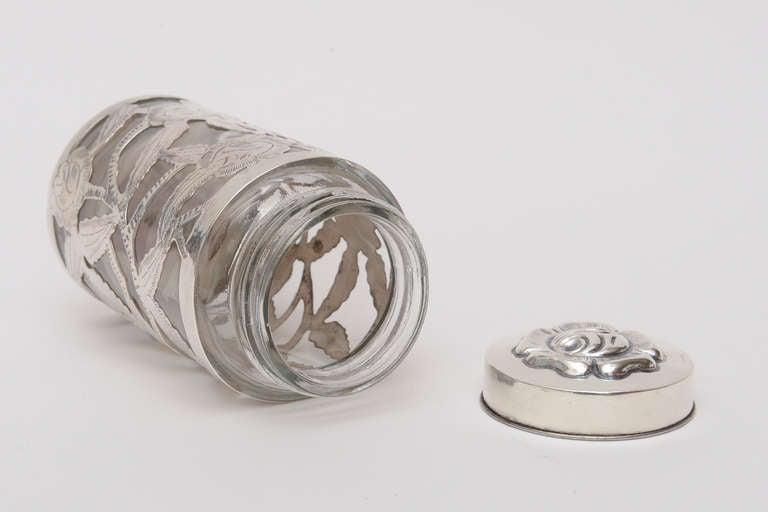 Sterling Silver Overlay Glass Vessel Lidded Vessel Vintage For Sale 4