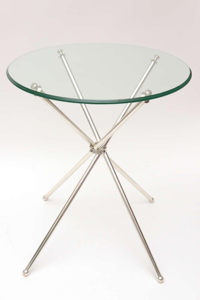 Modern Tripod Folding Silver-Plate Side or Drink Tables Vintage For Sale