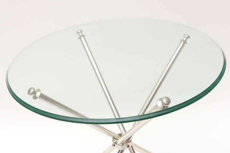 Tripod Folding Silver-Plate Side or Drink Tables Vintage In Good Condition For Sale In North Miami, FL