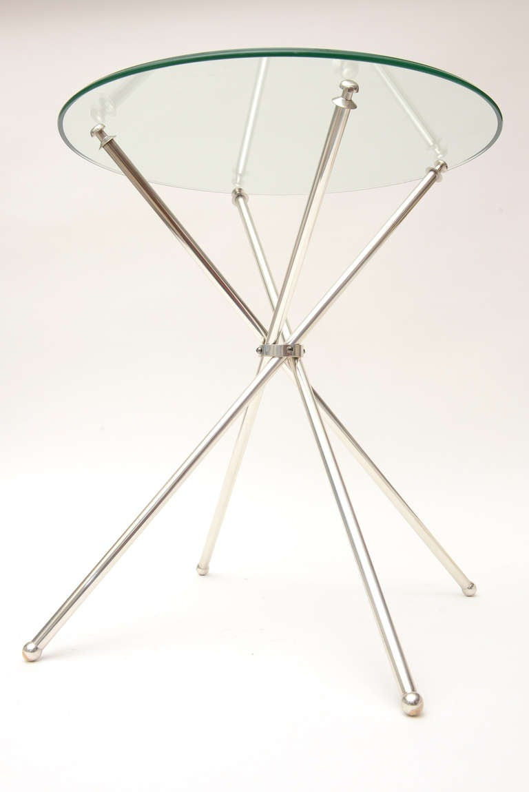 Tripod Folding Silver-Plate Side or Drink Tables Vintage For Sale 4