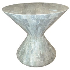 Amazing Maitland- Smith Stone Hourglass Side Table
