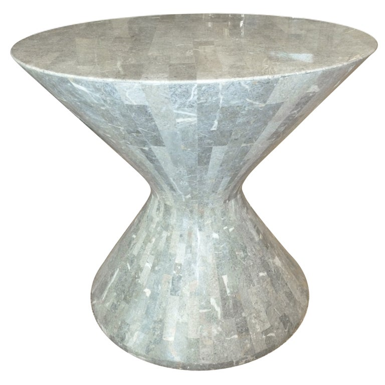 Amazing maitland smith stone hourglass side table at 1stdibs