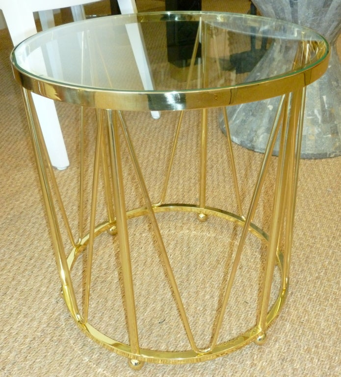 Modern Brass Drum End or Side Table Vintage For Sale
