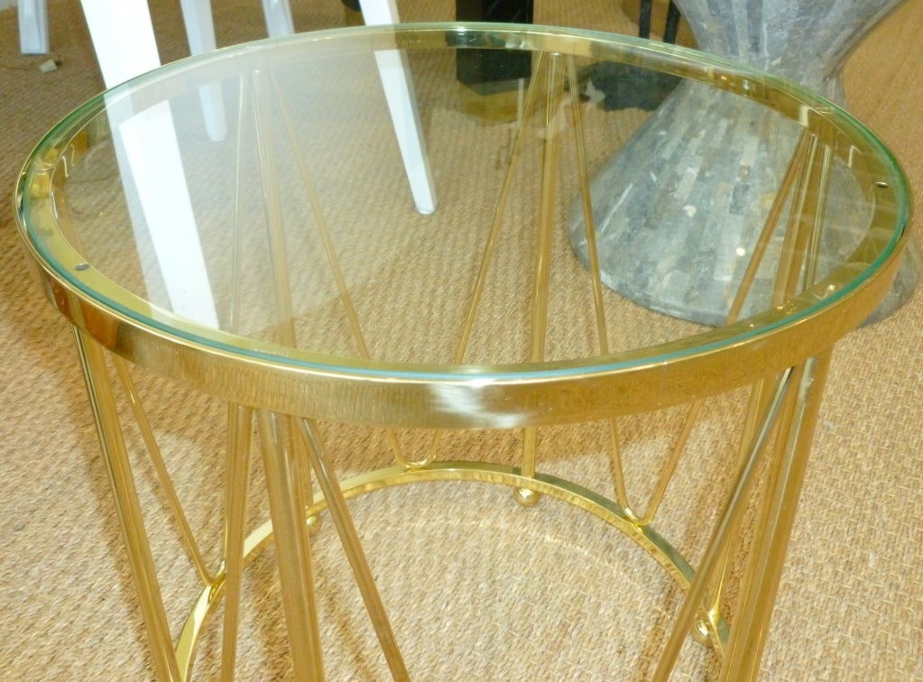 American Brass Drum End or Side Table Vintage For Sale