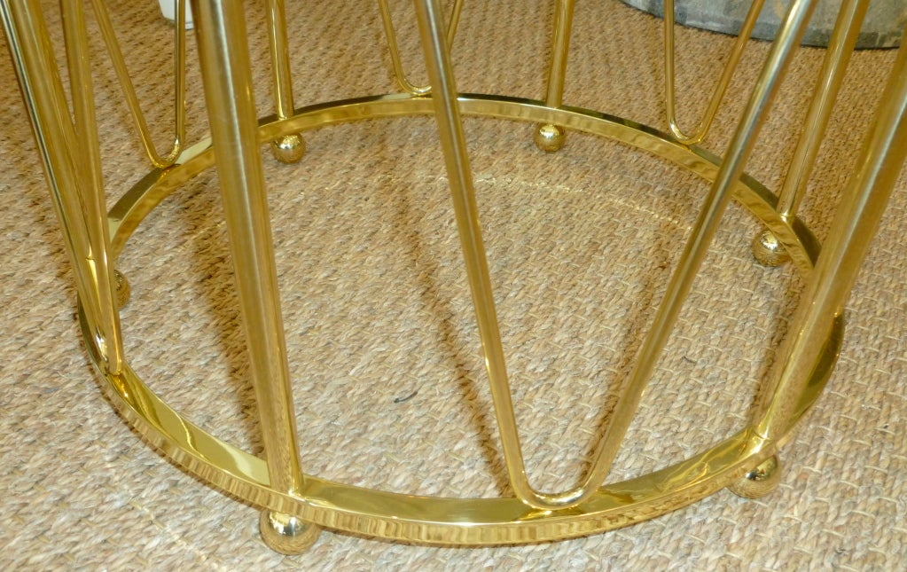 Brass Drum End or Side Table Vintage In Good Condition For Sale In North Miami, FL