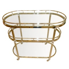 3 Tiered Silver and Glass Bar/Serving Cart